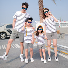 2020 Striped Family Look Mum Mama and Daughter Dress Mother Kids