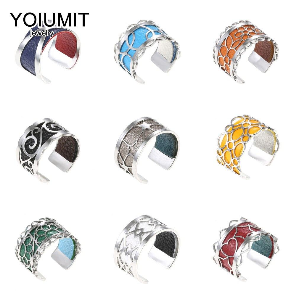 Кремо Новый Кольца из нержавейки для Для женщин Bijoux (украшения своими руками) регулируемое кольцо сменными кожаные Bague Роковой серебро Jewely