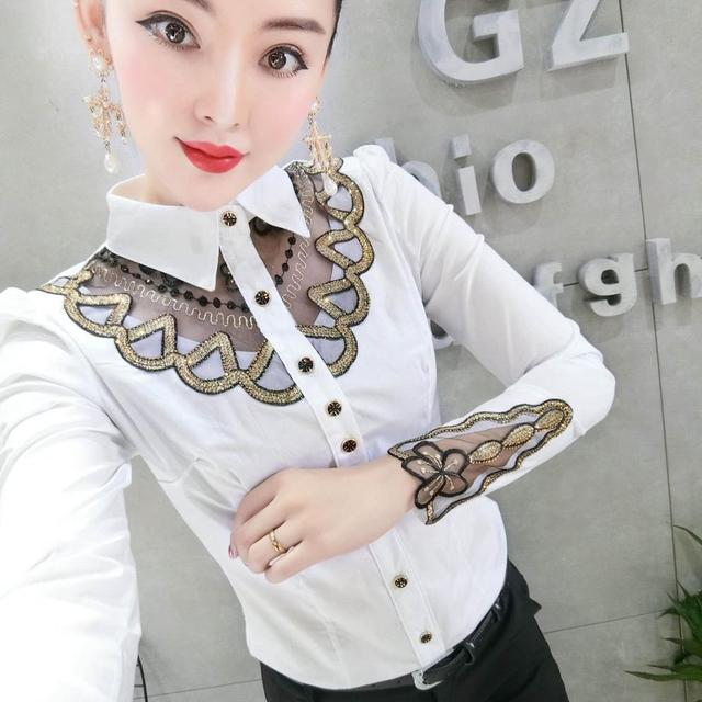 Fall Winter Business Wear Blouse European Clothes Fashion Patchwork Embroidery Women All Match Shirt Ropa Mujer Tops New T08608L 4