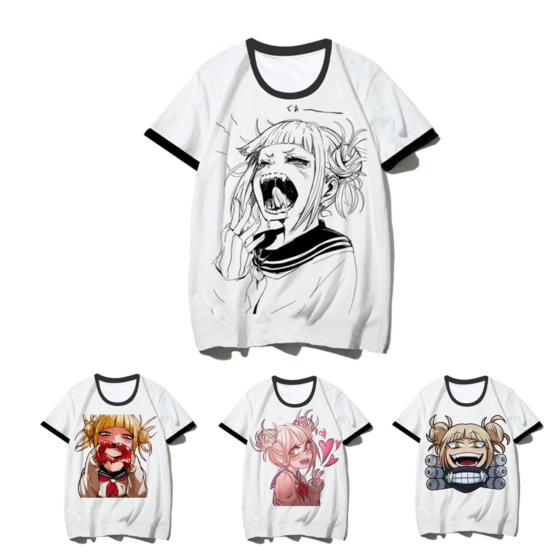 Ahegao Print T Shirt Himiko Toga Waifu Male Women T-shirt Men Boku No Hero Academia Harajuku Top Anime Cartoon Tee Shirt Tshirt