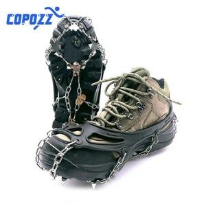 Image 3 - COPOZZ Outdoor Climbing Anti slip Crampons Winter Walk 19 Teeth Ice Fishing Snowshoes Hiking Skiing Steel Slip Shoe Covers