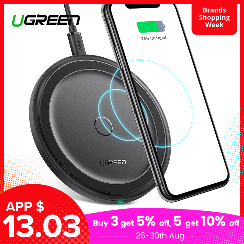Ugreen Wireless-Charger Airpods Xiaomi Note-9 8-Plus iPhone X Samsung S10 10W for Xs