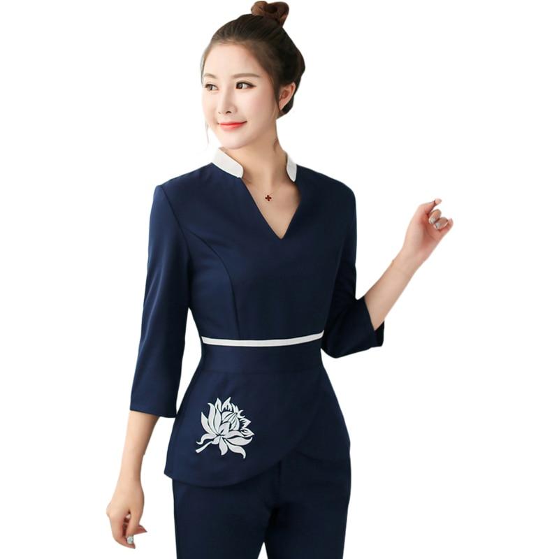 Women Workwear Spa Uniform 2pcs Sets Hospital Nurse Uniforms Wholesales Beauty Clothing Beautician Medical Nurse Work Uniform