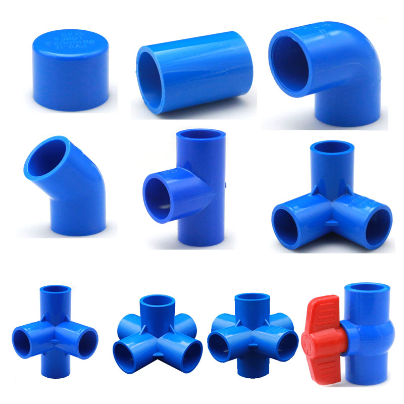 PVC Water Supply Pipe Fittings Blue Union End Cap Ball Valve Elbow Tee 5 6 Way Connector Plastic Joint Irrigation Water Parts image
