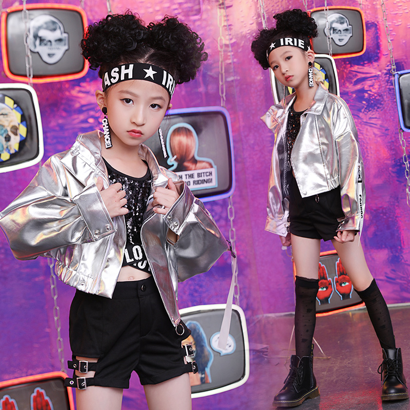 Handsome Girls Jazz Dance Costumes New Autumn Children'S Street Dance Clothes Sequins Suit Catwalk Show Hip Hop Costume DL4760