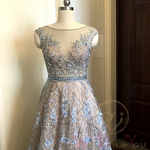 Image 4 - Blue Lace Prom Dresses 2020 Beaded Rhinestone A Line Cap Sleeves Long Sheer Neck Evening Gowns Engagement Dress Abendkleider