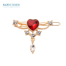 Sansummer 2019 New Hot Fashion Cute Golden Romantic Red Heart Pendant Headdress Rhinestone Girl Glittering Metal Alloy Japan And Korea Style Party Exquisite Hair Clip For Women Jewelry