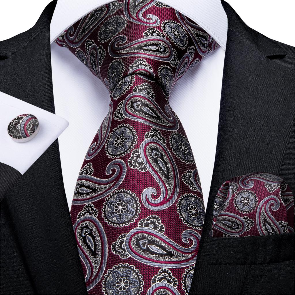 Mens Tie Red Silver Paisley Wedding Tie For Men Hanky Cufflinks Silk Men Tie Set Party Business Fashion DiBanGu Designer MJ-7252