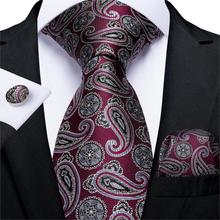 Mens Tie Red Silver Paisley Wedding For Men Hanky Cufflinks Silk Set Party Business Fashion DiBanGu Designer MJ-7252
