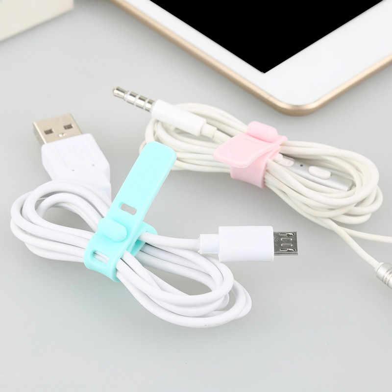 USB Pengisian Kabel Winder HOOK LOOP Silikon Klip Kabel Wiring Harness Kabel Tali Kawat Listrik Manajemen Kabel Data Winders