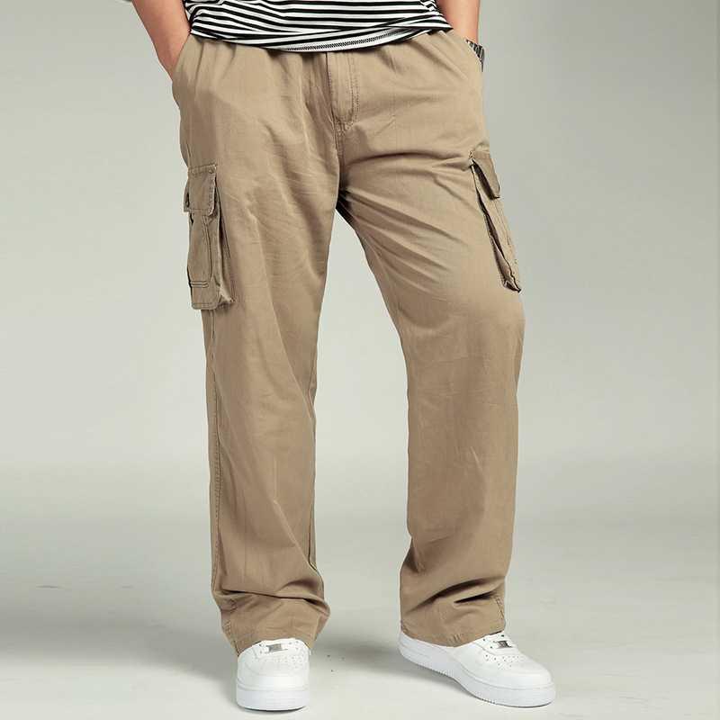 男性のカジュアルなズボン綿オーバーオール弾性ウエストフルlenマルチポケットプラス肥料xlメンズ服ビッグサイズのカーゴパンツ