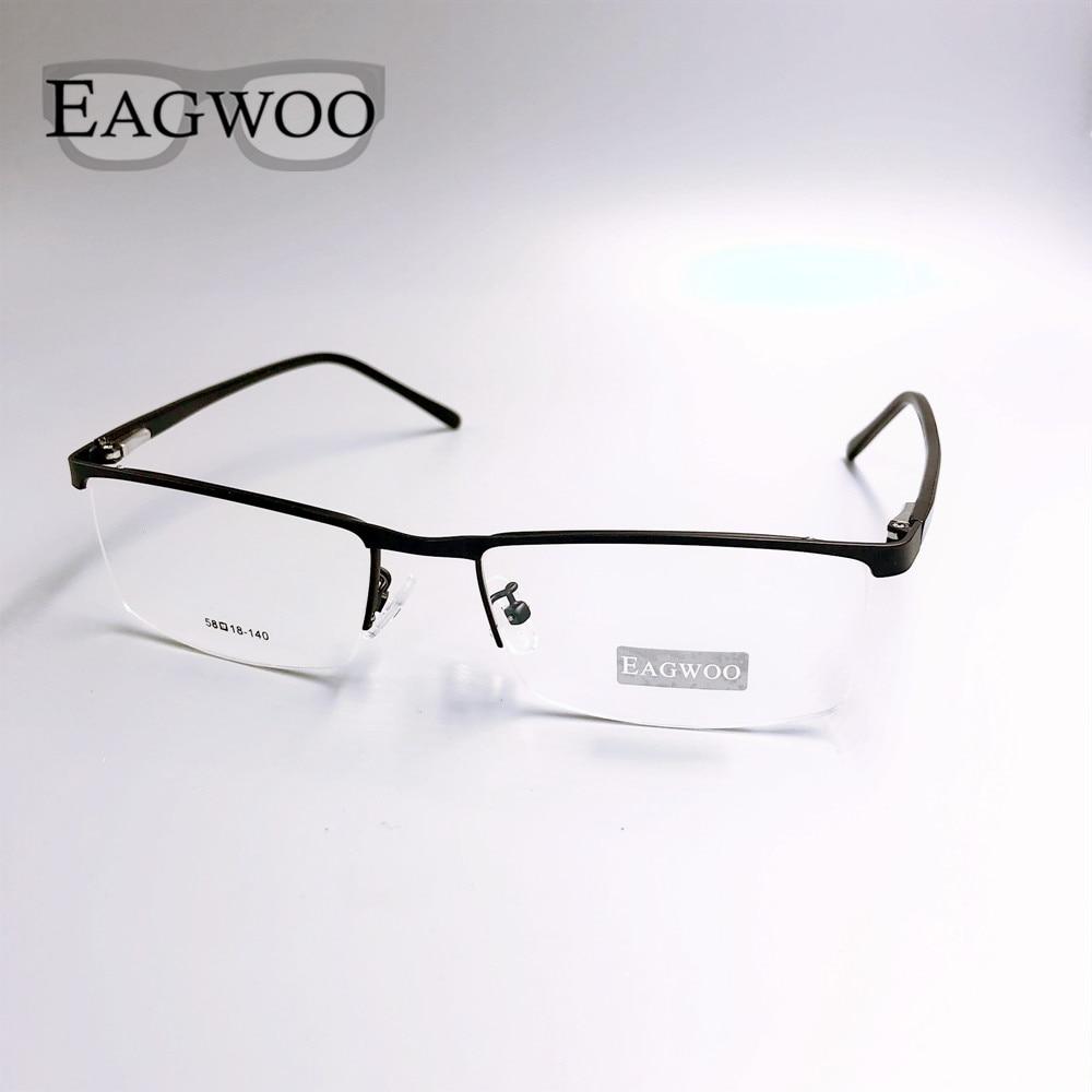 Metal Alloy Half Rim Optical Frame Prescription Men Rectangular Eyeglasses Business Glasses Sports Spectacle Wide Big Face 58mm