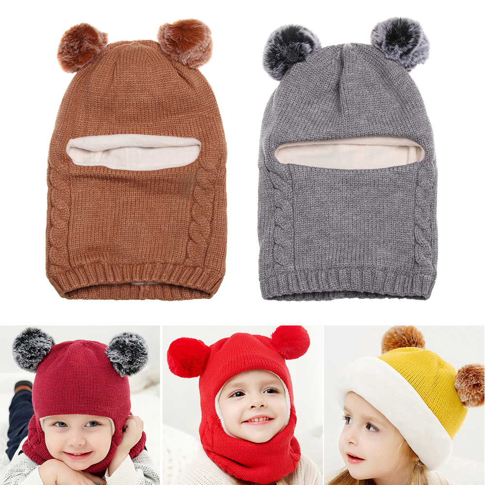 New Kids Winter Knitted Hat Thick Warm Hooded Scarf Caps Hat Girls Boys Children Bonnet Knitted Warm Cap Cute Pom Pom Hat