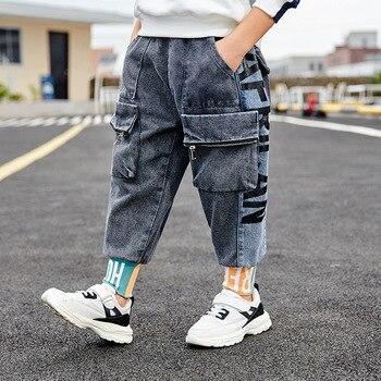 Rock garçons jean mode genou poches sarouel élastique cheville longueur jean décontracté Denim pantalon automne Pantalons pour enfants