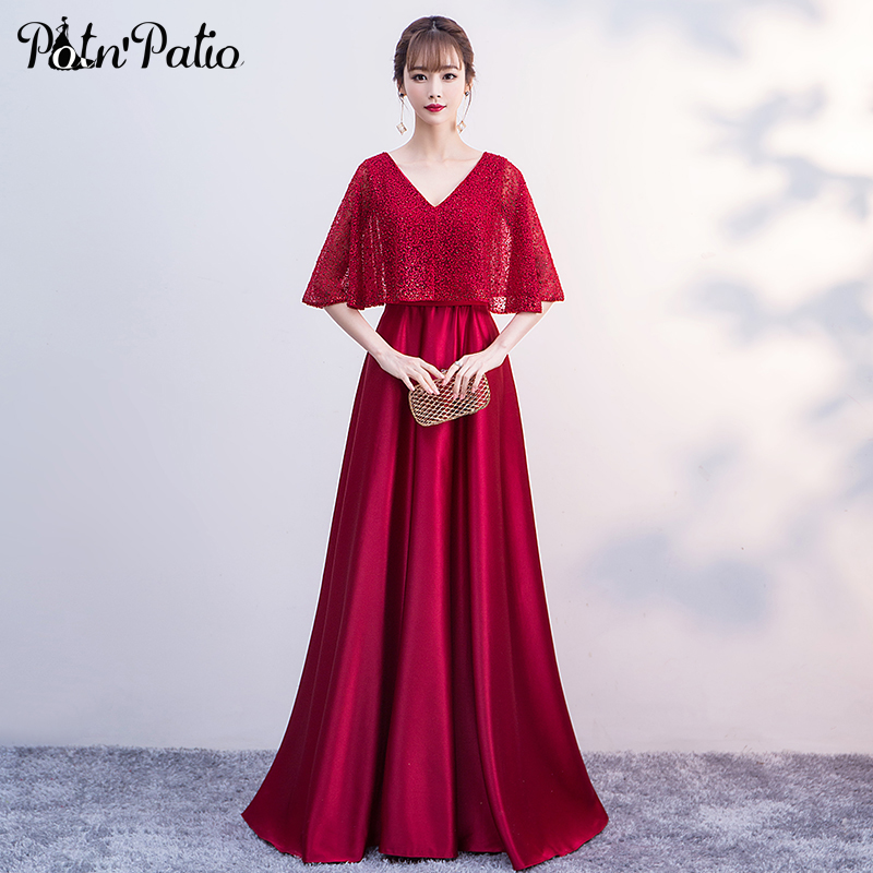 Elegant Wine Red Satin Long Evening Gowns With Jacket 2019 A-line V-neck Floor-length Women  Formal Dresses