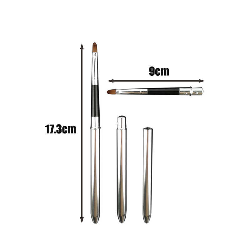 Professional Make Up Tool Portable Retractable Cosmetic Lipstick Gloss Lip Brush  with Metal Cover