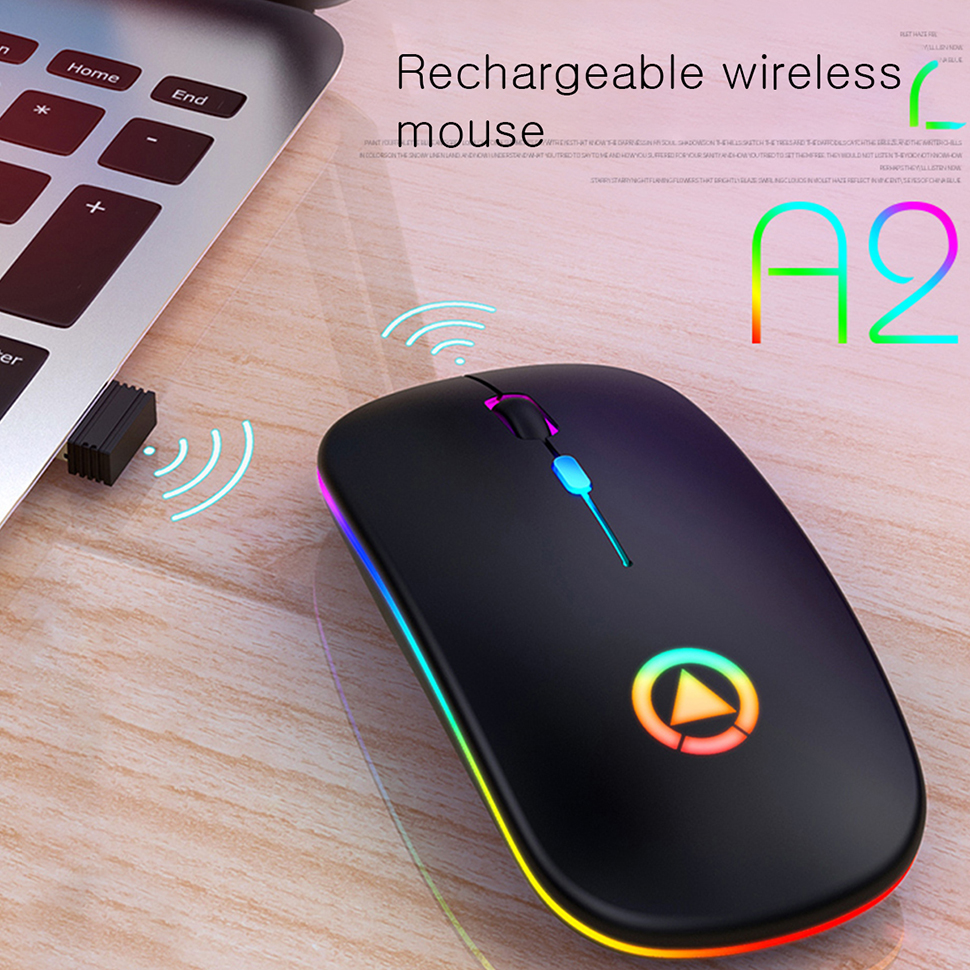 USB Mouse LED Backlit Rechargeable Wireless Silent Mouse Ergonomic Optical Gaming Mouse Desktop PC Laptop Mouse