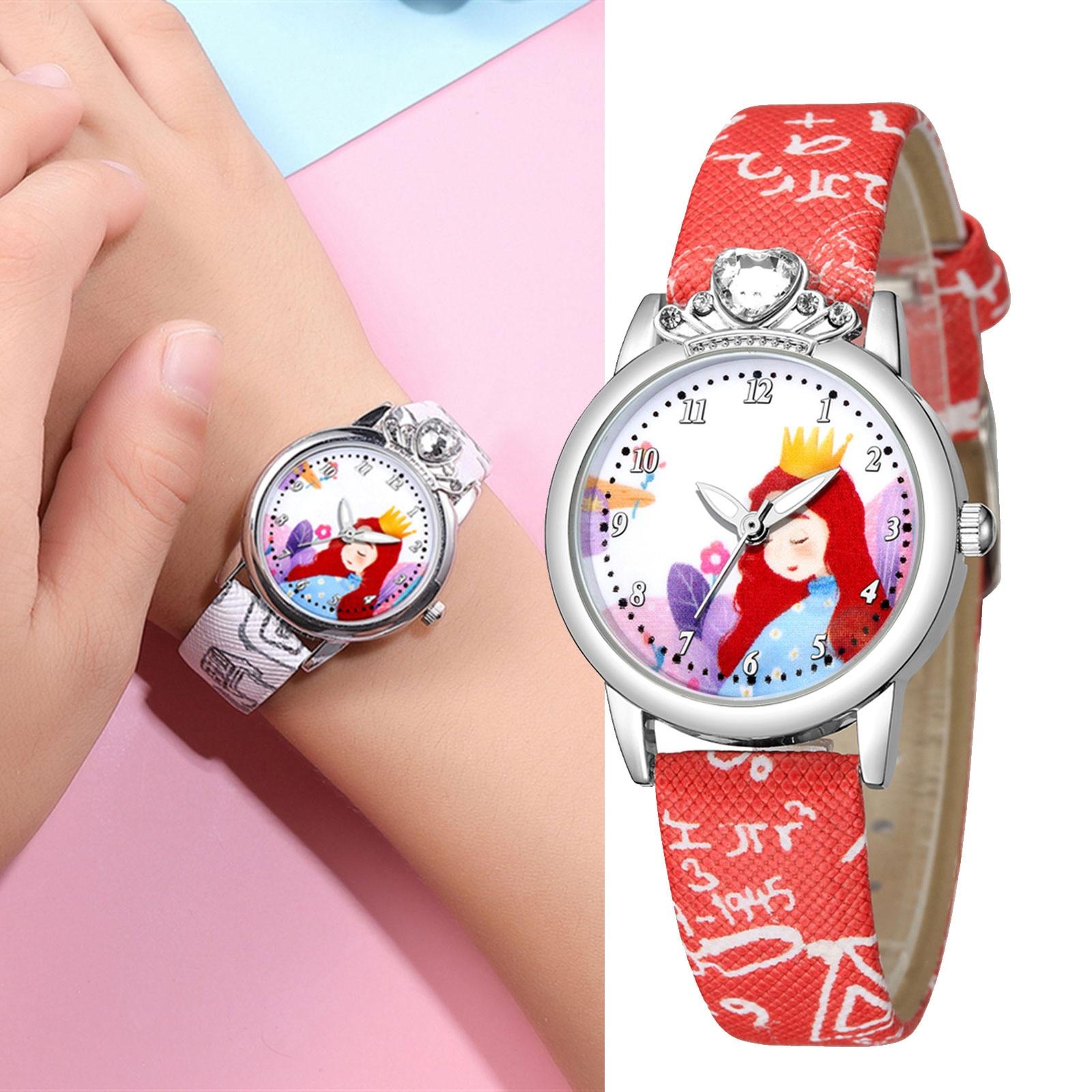 Children's Watches Cartoons Queen Crown Printing Leather Strap Child Watch For Christmas Thanksgiving Present Часы Женские