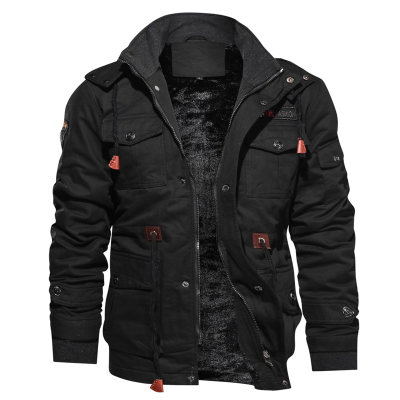 Men's Winter Fleece Jackets Warm Hooded Coat Thermal Thick Outwear Male Multi-pocket Military Jacket Parkas Hombre Drop Shipping