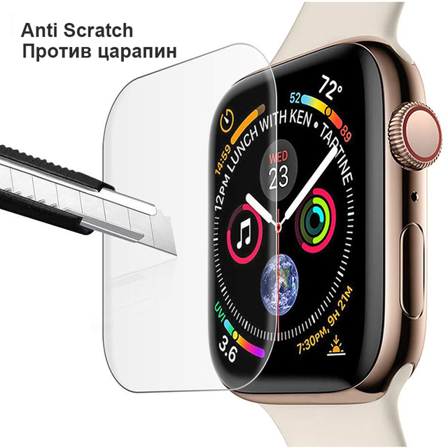 3D Full Curved Soft Tempered PET for Apple Watch Series 5 4 Ultra-thin Screen Protector for iWatch 38 40 42 44mm Not Glass 3