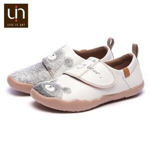Image 3 - UIN דוב קטן עיצוב ילדים נעליים יומיומיות מיקרופייבר עור לבן נעלי ספורט עבור בנים/בנות אופנה נעלי ילדי נוחות דירות