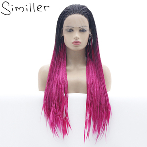 Similler Long Ombre Glueless Braided Synthetic Lace Front Wigs 3X Twist Braids For Afro Black Women Daily Wear 26 Inches