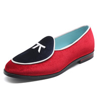 37~48 Large Size Mens Velvet Fringed Loafers With Tassels Formal Wedding Leather Shoes Red Bottom Pointed Toe Slip On Dress Shoe