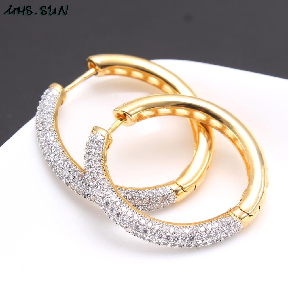 Image 5 - MHS.SUN 2019 New European Style Jewelry Gold Color Hoop Earrings With AAA Zircon For Women Wedding Party Circel Earrings GiftHoop Earrings   -