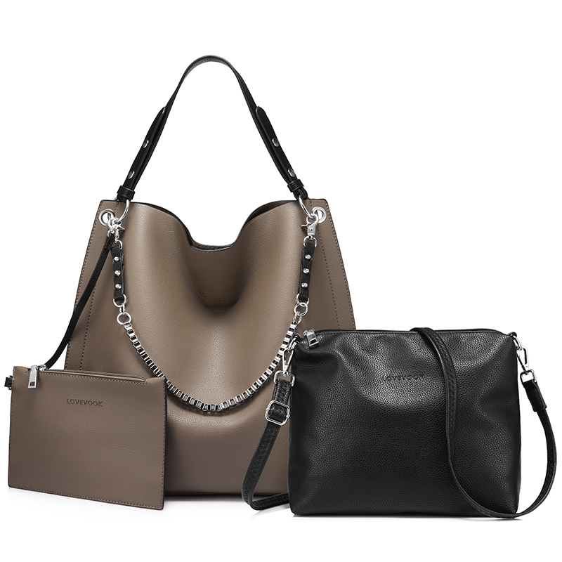 LOVEVOOK  Bag Set Women Handbag Large Tote Shoulder Crossbody Bag With Soft Artificial Leather Female Messenger Bag Small Purse