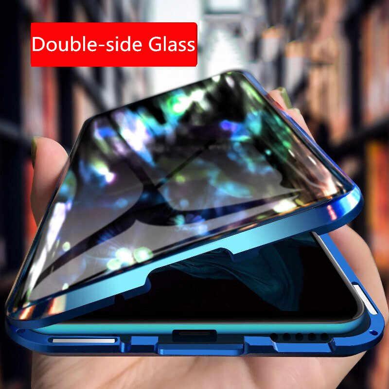Magnetyczna szklana obudowa do xiaomi mi note 10 Case DoubleSide szkło hartowane metalowa adsorpcja magnetyczna etui na xiaomi mi cc9 pro