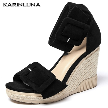 Karinluna New Arrival Genuine Leather Straw Platform High Heels Women Shoes Wedges Sandals