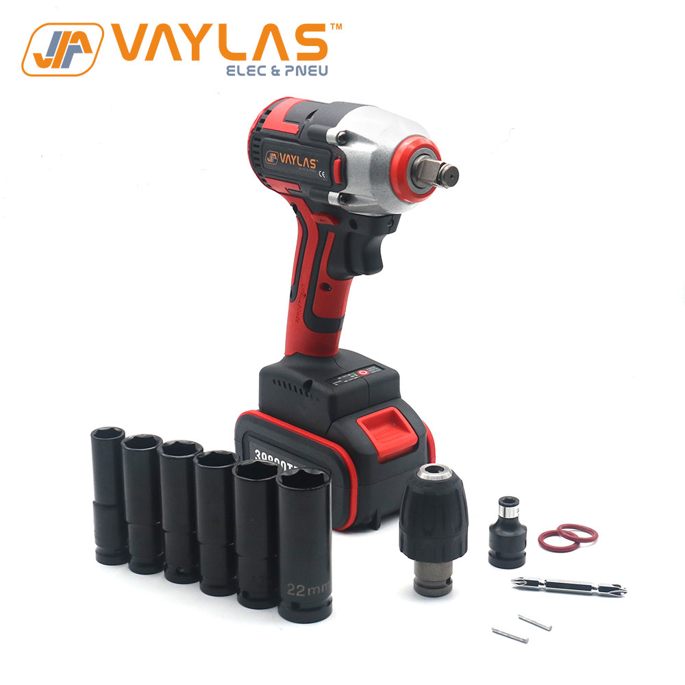 Vaylas Rechargeable Electric Impact Wrench Brushless Socket Wrench Spanner Gun With Sockets 1/2