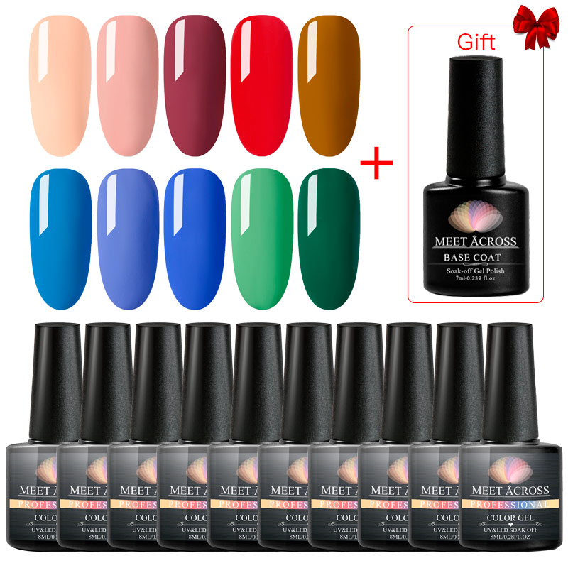 MEET ACROSS Pure Color Gel Nail Polish Set Holographic Glitter Soak Off UV LED Gel Lacquer Long Lasting Nail Art Gel Varnish