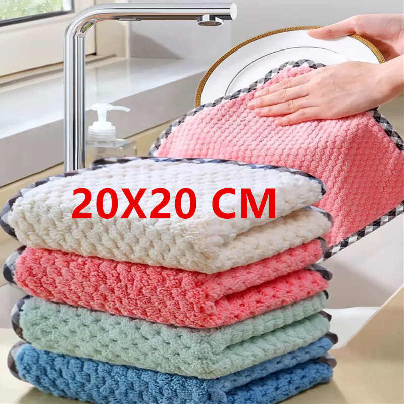 12/8/4/piece of kitchen rag, high-grade, super absorbent coral fleece rag, non-stick oil, washable and quick-drying