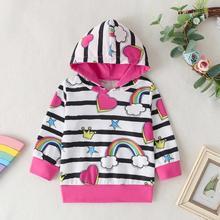 Хлопковый свитер с длинными рукавами для маленьких мальчиков и девочек; хлопковые теплые толстовки с капюшоном в полоску с длинными рукавами и принтом радуги; верхняя одежда