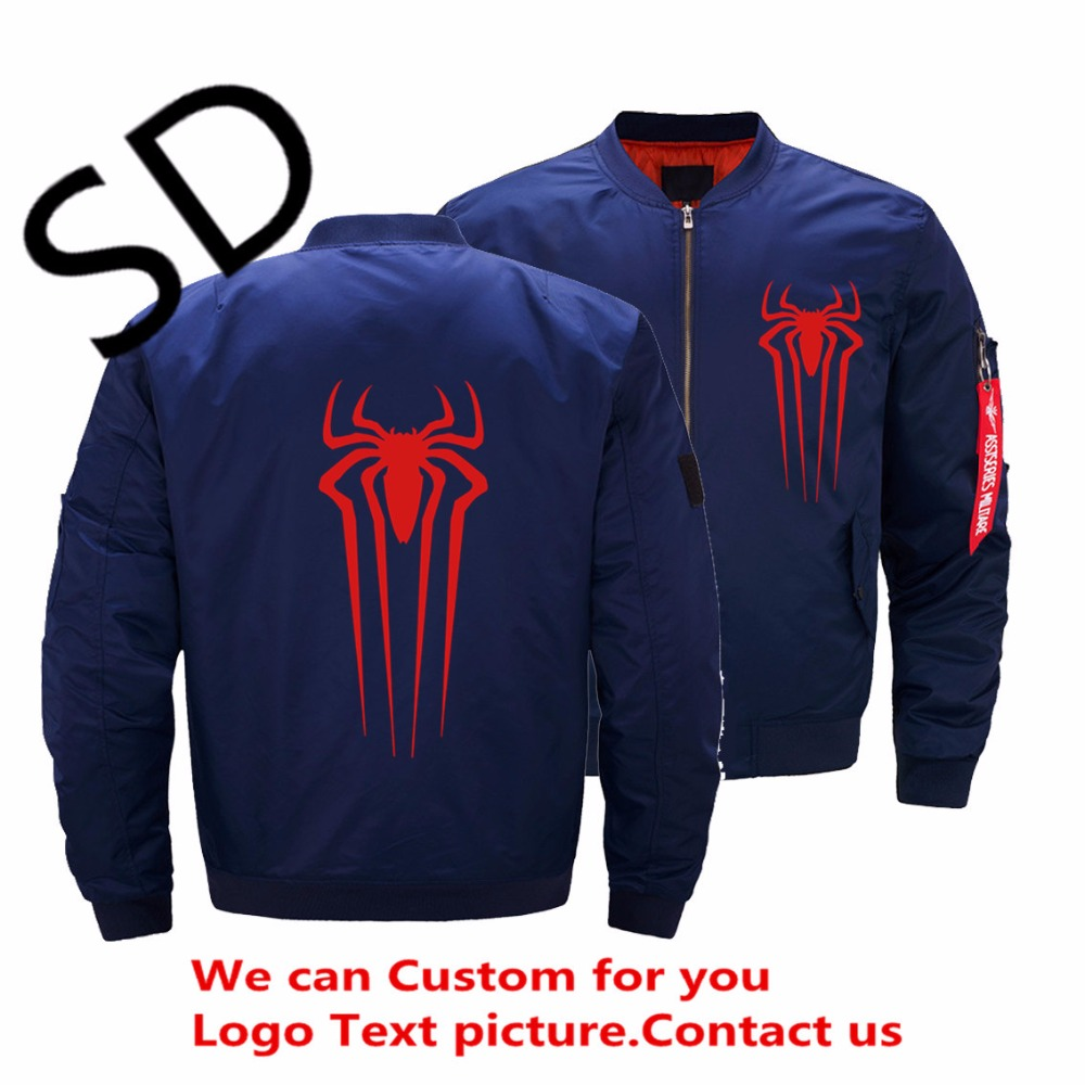 Spiderman Jacket Men Streetwear Printed Mens Ma1 Thick Motorcycle Aviator Pilot Air Bomber Zipper Jacket Plus Size Coats 5XL image