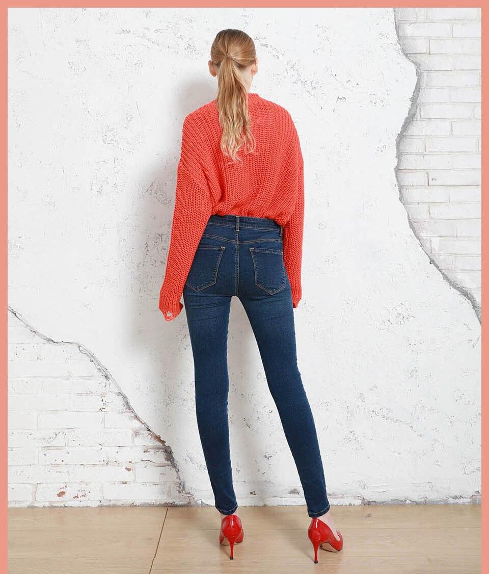 Autumn Winter Women Denim Skinny Pants Super Stretch Fake Front Pocket Waist Blue Grey Black White Slim Elastic Lady Jeans 15