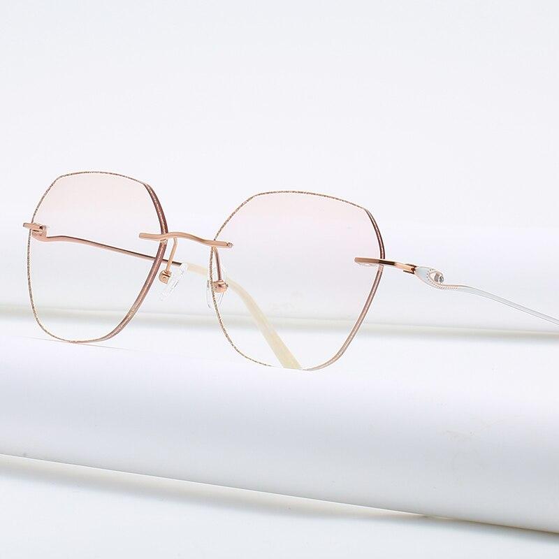 ZIROSAT 9148 Titanium Female Rimless Eyewear Diamond Trimmed Myopia Spectacle Frame Women Sunglasses Tint Lenses Women's Eyewear Frames  - AliExpress