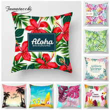 Fuwatacchi Tropical Background Cushion Covers Flamingo Palm Leaf Throw Pillow Cover for Sofa Bed Decor Orange Kiwi Pillowcases(China)