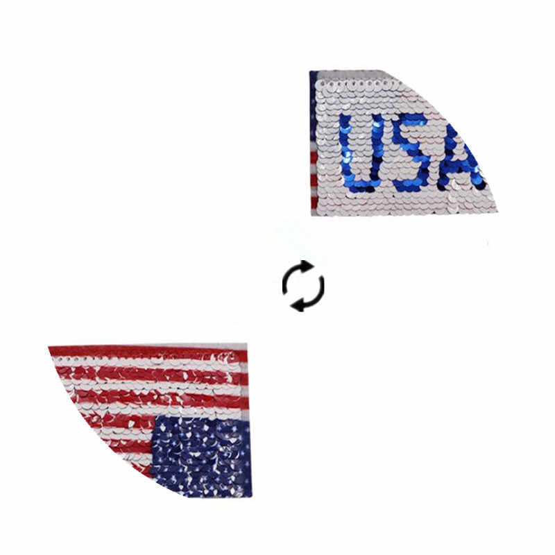 التصحيح صفقة معها الملابس تي شيرت المرأة Diy بها بنفسك الولايات المتحدة الأمريكية العلم عكسها تغيير لون AB الترتر السائق بقع للملابس ملصقات