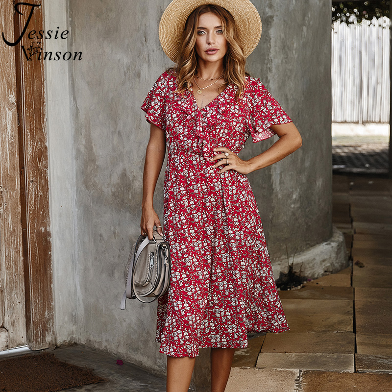 Jessie Vinson Floral Print Ruffles Long Dress Women Sexy Short Sleeve V-neck Boho Dress Summer Dresses 2020 Beach Vestidos Robe