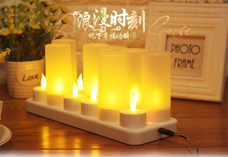 Decorative Set of 12 Flickering Rechargeable LED Tea Light Candles UK PLUG