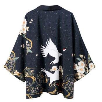 Summer New Japanese Kimono Shirt Retro Crane Pattern Men Women Cape Cardigan Yukata Asian Clothes New Hawaiian Shirts Streetwear недорого