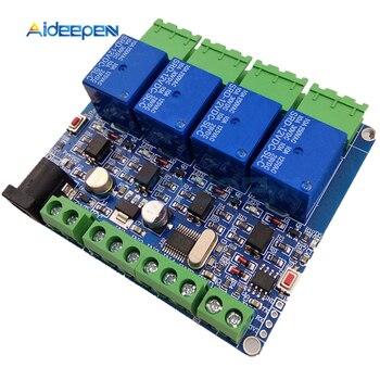 Modbus RTU 4 vías módulo de relé DIY 4 Entrada de carretera 485 TTL comunicación 4 canales módulo de relé de entrada