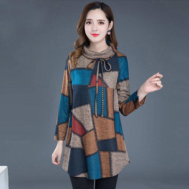 Tunic Women Long sleeve Plus size Tops Vintage Blouse Turtleneck Plaid Autumn Winter Warm Shirt Clothes Ladies Casual 1