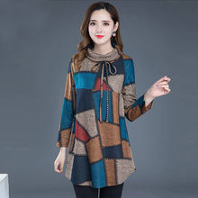 Blouse Turtleneck Warm Shirt Tops Vintage Tunic Women Long-Sleeve Plaid Autumn Winter