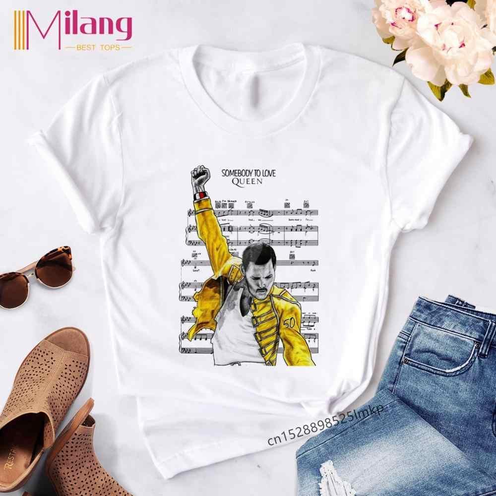 女性フレディ · マーキュリー女王バンド黒 tシャツ女性半袖 tシャツ 2020 夏ブランドロック服トップス