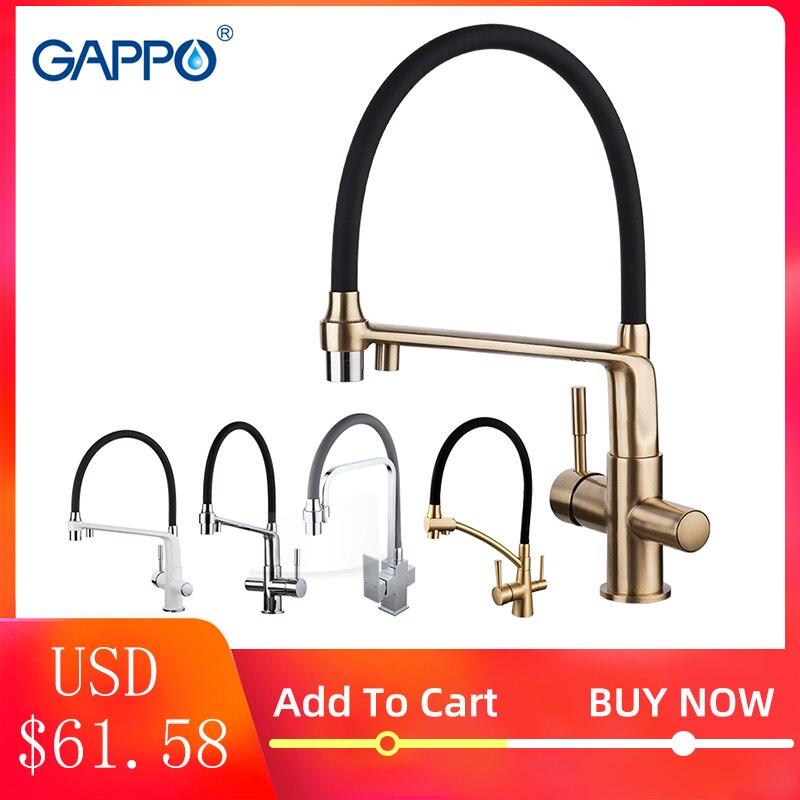 Gappo torneira da cozinha chrome torneira da pia da cozinha misturadora de bronze torneira de água da cozinha com filtrado torneiras de água