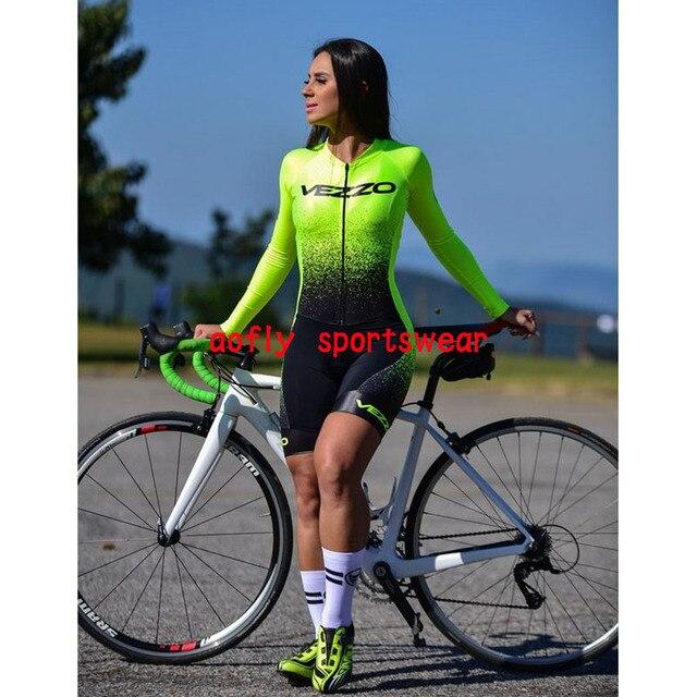 2021 vezzo roupas de manga longa das mulheres ciclismo triathlon conjuntos skinsuit macaquinho feminino gel macacão kits verão macacão ciclismo femininomacaquinho ciclismo feminino manga longa roupas com frete gratis 2