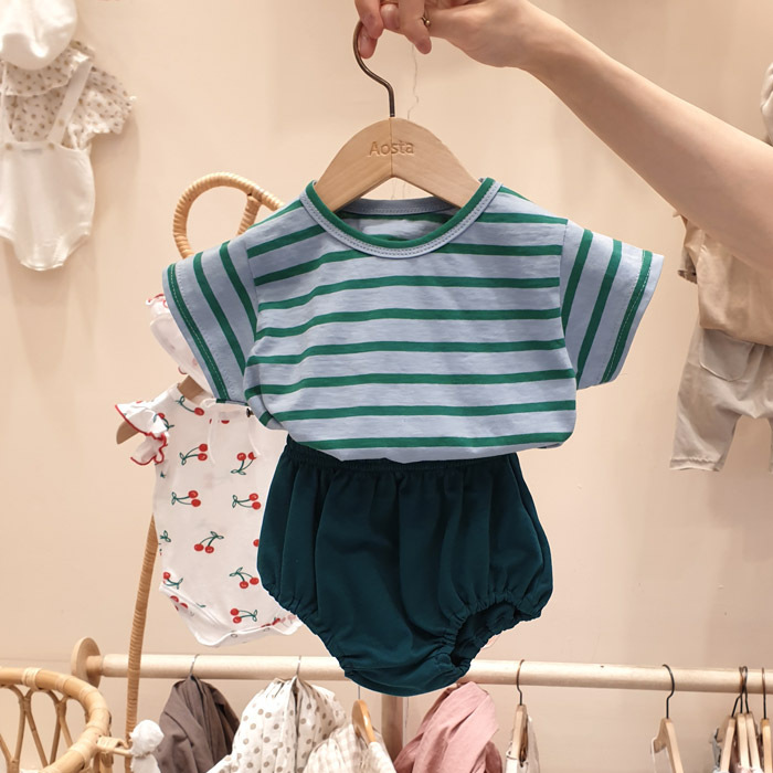 2020 Baby Boys Girls Striped 2pcs Sets Summer Cotton Casual T Shirt Boy Short Sleeve Set Girls Shorts Outfit Baby Clothes Sets